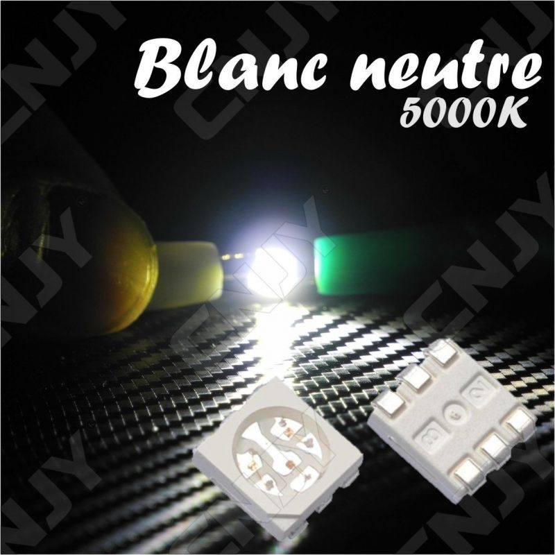 LOT DE 20 LED CMS 5050 SMD A SOUDER BLANC NEUTRE 5000K 3.2V