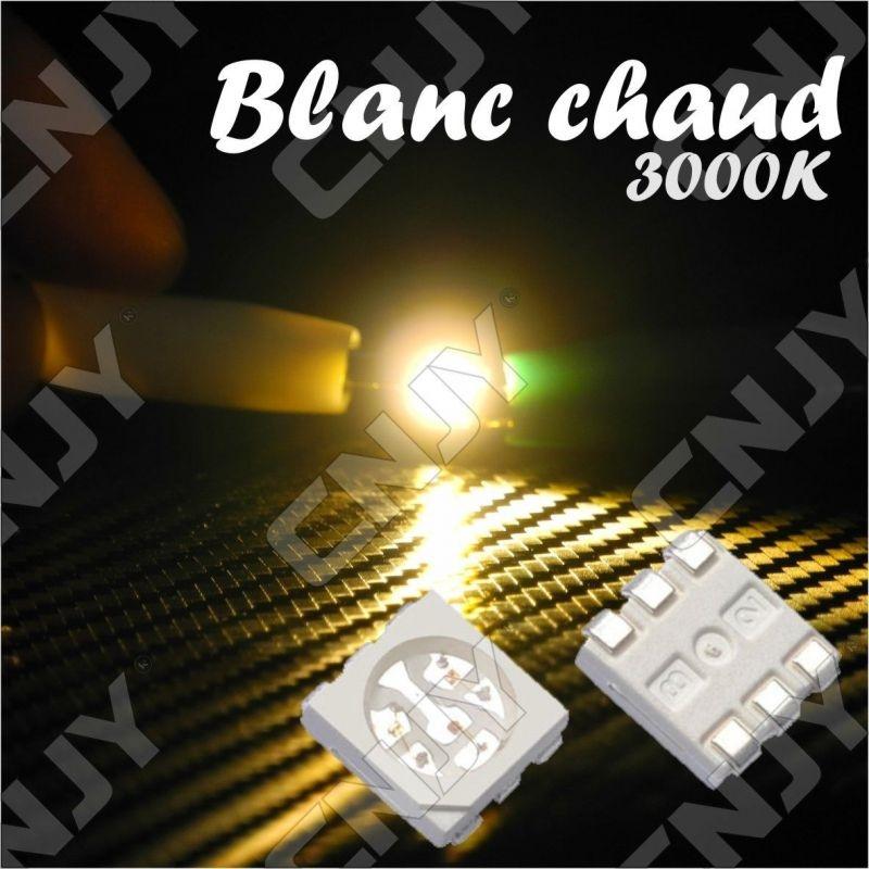 LOT DE 20 LED CMS 5050 SMD A SOUDER BLANC CHAUD 3000K 3.2V