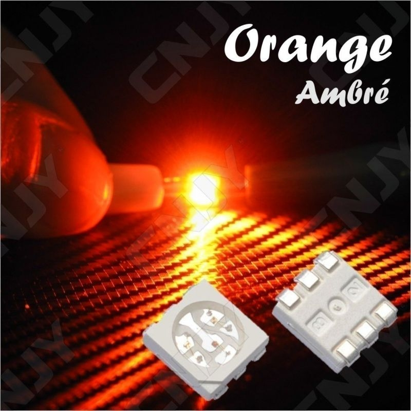LOT DE 20 LED CMS 5050 SMD A SOUDER ORANGE AMBRE 3V