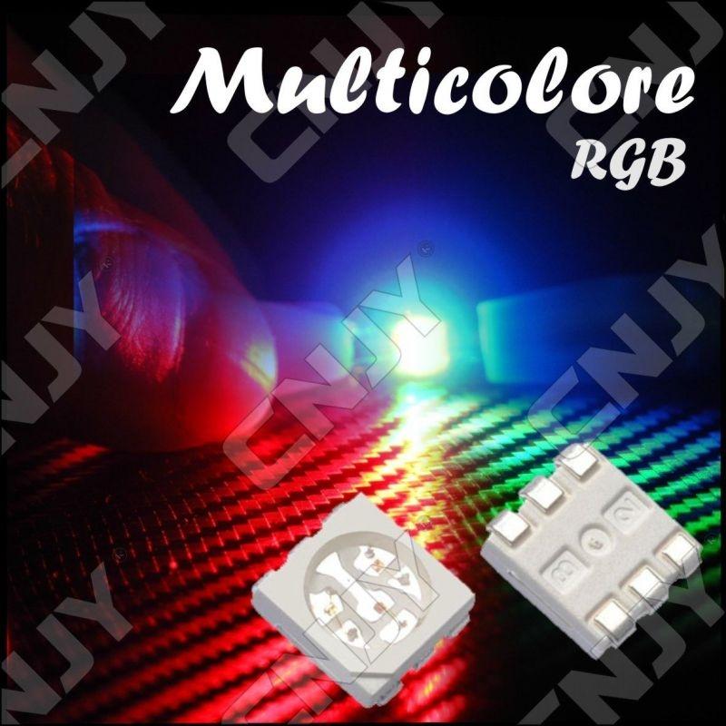 LOT DE 20 LED CMS 5050 SMD A SOUDER MULTICOLORE RGB RVB 3V