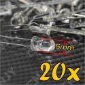 LOT DE 20 LED 5MM RONDE A SOUDER COULEUR VERT 3V