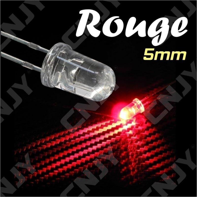 LOT DE 20 LED 5MM RONDE A SOUDER COULEUR ROUGE 3V