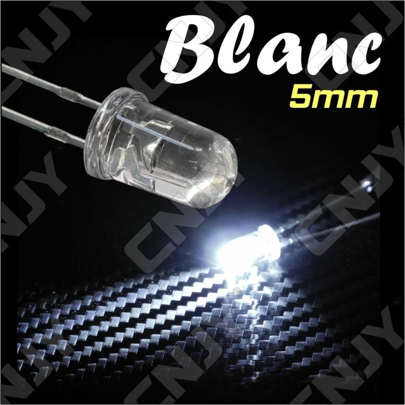 LOT DE 20 LED 5MM RONDE A SOUDER COULEUR BLANC 6000K 3V