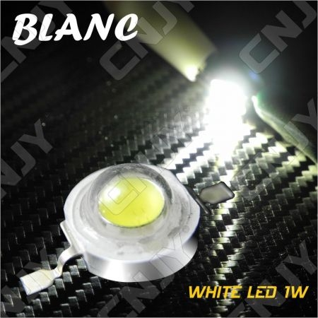 LOT DE 5 LED DEL 8MM 1W/3W A SOUDER COULEUR BLANC FROID 6000K