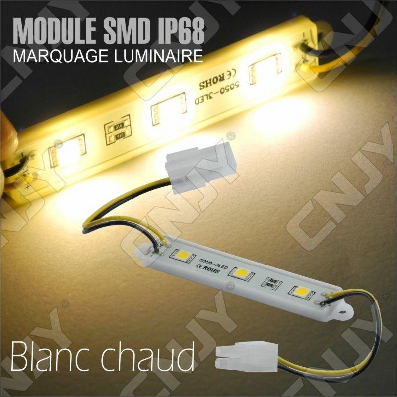 1 MODULE LED CABLE 3SMD 5050 BLANC CHAUD ETANCHE IP68 POUR MARQUAGE PUBLICITAIRE TUNING DECORATION 12VDC