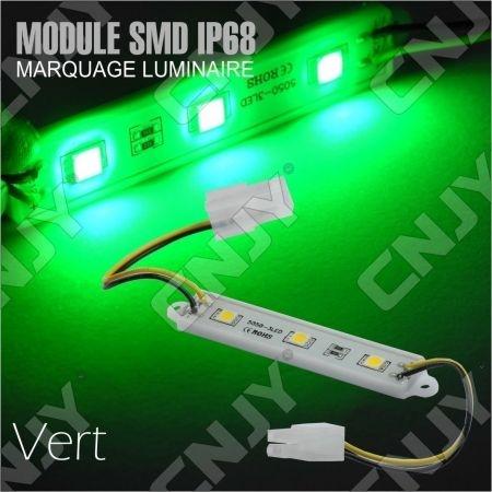 1 MODULE LED CABLE 3SMD 5050 VERT ETANCHE IP68 POUR MARQUAGE PUBLICITAIRE TUNING DECORATION 12VDC