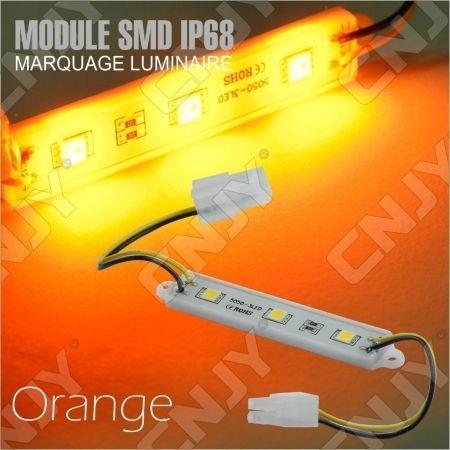 1 MODULE LED CABLE 3SMD 5050 ORANGE ETANCHE IP68 POUR MARQUAGE PUBLICITAIRE TUNING DECORATION 12VDC