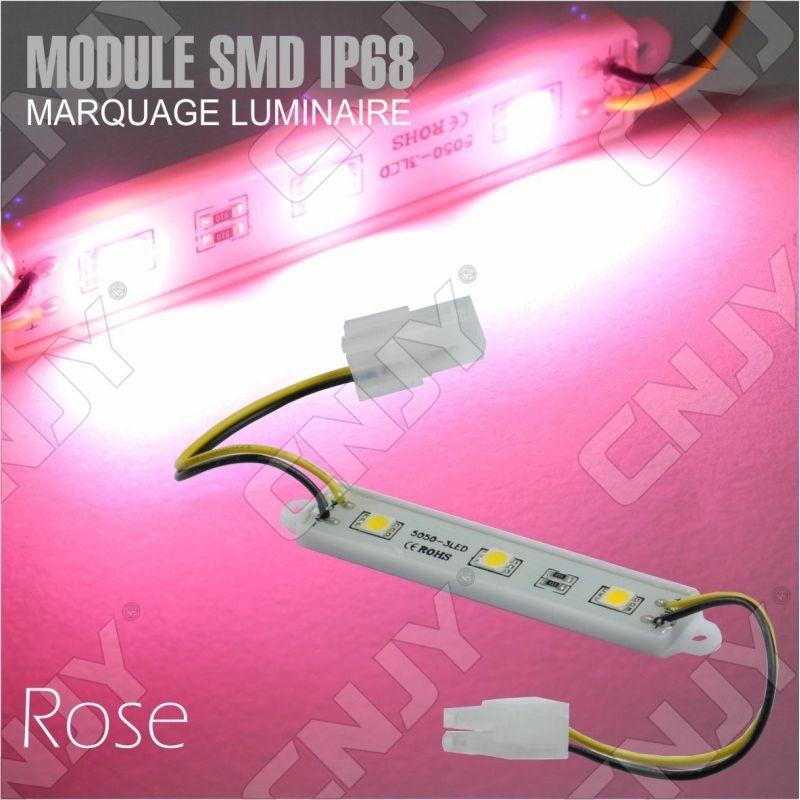 1 MODULE LED CABLE 3SMD 5050 ROSE ETANCHE IP68 POUR MARQUAGE PUBLICITAIRE TUNING DECORATION 12VDC