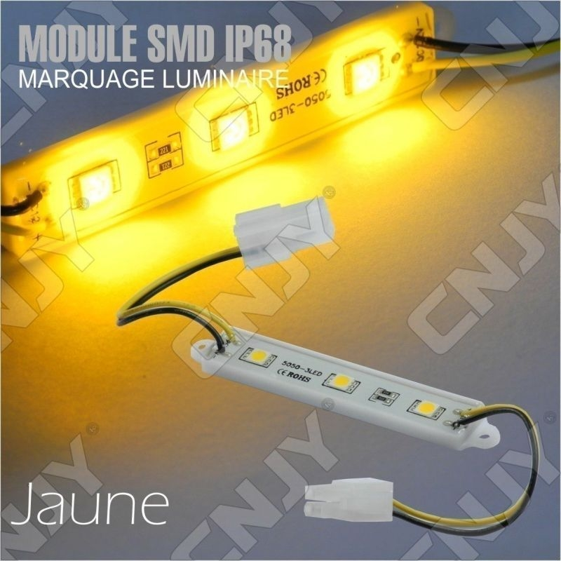 1 MODULE LED CABLE 3SMD 5050 JAUNE ETANCHE IP68 POUR MARQUAGE PUBLICITAIRE TUNING DECORATION 12VDC