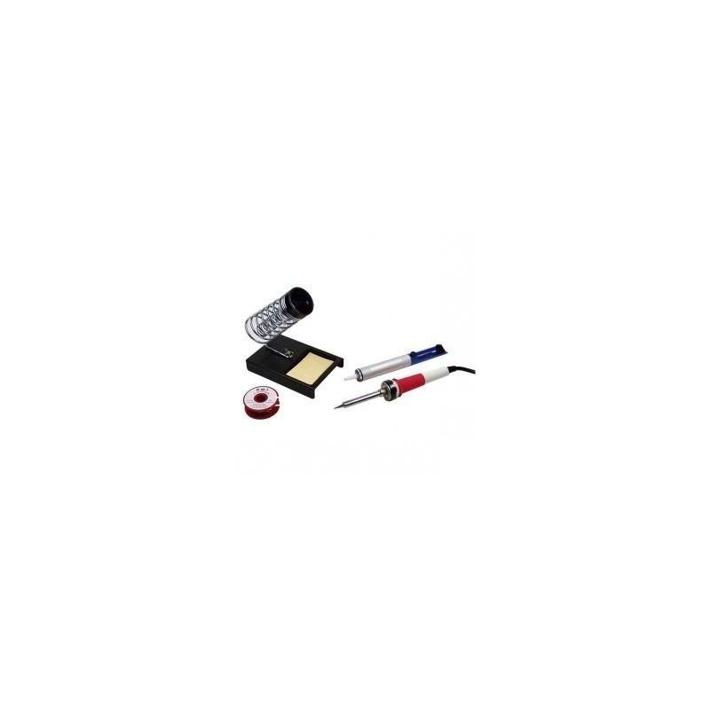 KIT DE SOUDURE - FER A SOUDER + POMPE A DESSOUDER + ETAIN (1mm) + SUPPORT EPONGE