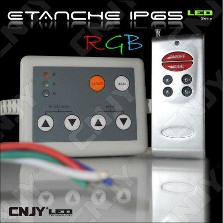 CONTROLEUR ETANCHE - MODULE DE CONTROLE RGB (RVB) A TELECOMMANDE POUR BANDE LED MULTICOLORE (DC12-24V)