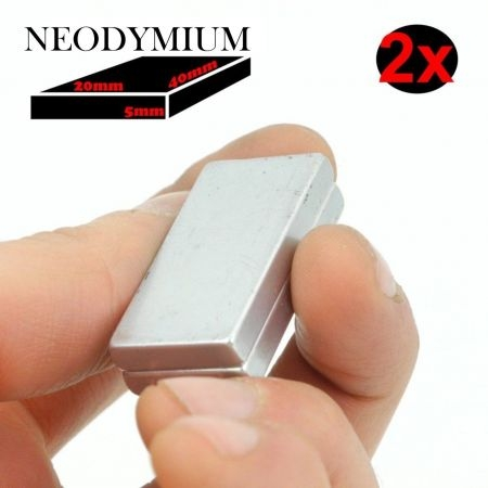 2x AIMANT NEODYMIUM RECTANGLE 40x20x5mm PUISSANT MAGNET PERMANENT N52 Ni