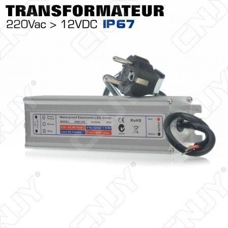 TRANSFORMATEUR CONVERTISSEUR DE TENSION IP67 60W 220V AC - 12V DC POUR ECLAIRAGE LED & SPOT - AVEC FICHE SECTEUR