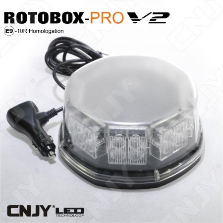 Gyrophare led 32W magnétique ECE R65 orange blanc 12V 24V