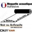 MOQUETTE ACOUSTIQUE ADHESIVE 150cm ANTHRACITE ou NOIR EN ROULEAU A LA DECOUPE