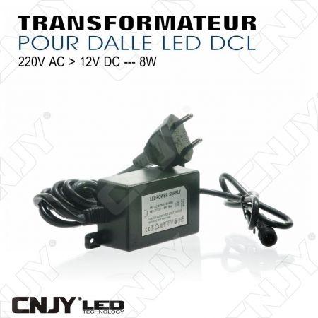 TRANSFORMATEUR CONVERTISSEUR DE TENSION DCL IP44 8W 220V AC - 12V DC POUR DALLE LED DCL