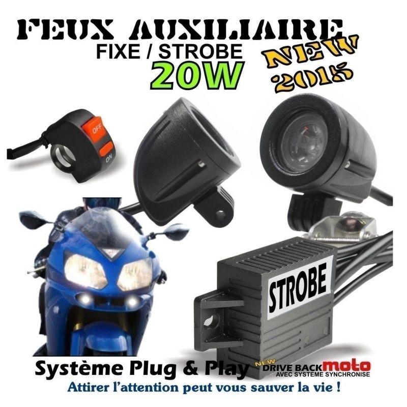 KIT DE 2 FEUX AUXILIAIRE ROND A CREE LED 2x10W POUR MOTO AVEC MODE STROBO FLASHING FEUX PENETRANT MOTO DRIVEBACK SYSTEME