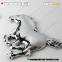 EMBLEME CHEVAL GAUCHE 3D CARROSSERIE AUTO ADHESIF CHROME PLASTIQUE ABS HAUTE RESISTANCE