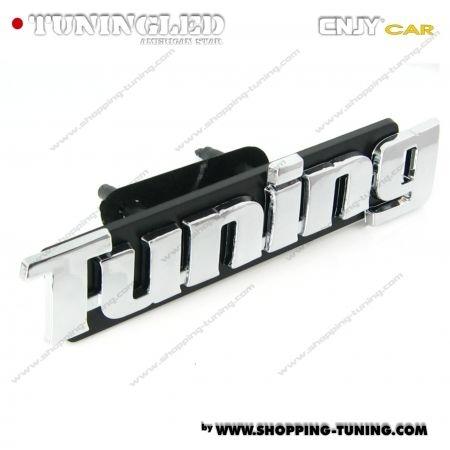 EMBLEME TUNING CALANDRE 3D CARROSSERIE AUTO ADHESIF CHROME PLASTIQUE ABS HAUTE RESISTANCE