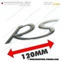 EMBLEME RS 3D CARROSSERIE AUTO ADHESIF CHROME PLASTIQUE ABS HAUTE RESISTANCE