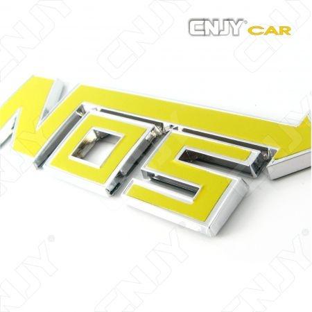 EMBLEME NOS NITROS NITROUS 3D CARROSSERIE AUTO ADHESIF CHROME PLASTIQUE ABS HAUTE RESISTANCE