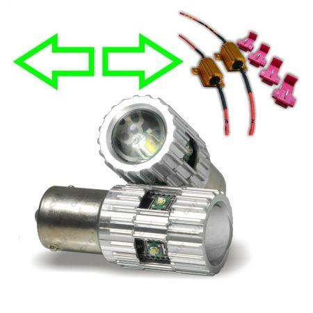 2 AMPOULES CREE LED 24V BA15S P21W ORANGE POUR REPETITEUR CAMION + RESISTANCE ANTI CLIGNOTEMENT RAPIDE