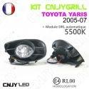 KIT 2 GRILLE DE CALANDRE ANTI BROUILLARD FEUX DE JOUR LED DIURNE DRL TOYOTA YARIS 2005-07