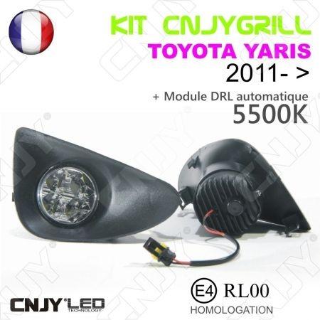 KIT 2 GRILLE DE CALANDRE ANTI BROUILLARD FEUX DE JOUR LED DIURNE DRL TOYOTA YARIS 2011- ...