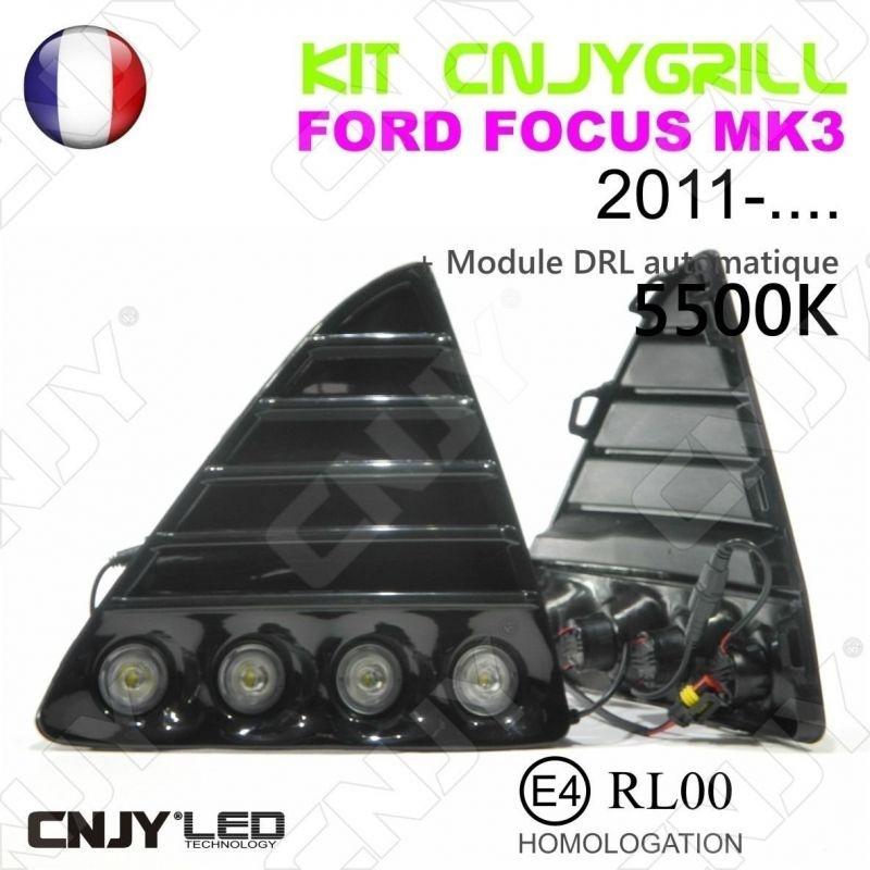 KIT 2 GRILLE DE CALANDRE ANTI BROUILLARD FEUX DE JOUR LED DIURNE DRL FORD FOCUS MK3 2011-....