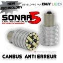 1 AMPOULE SONAR5 18 LED SMD HP ANTI ERREUR BA15S CULOT COMPATIBLE FEUX DE JOUR / RECUL P21W 1156 CANBUS ODB