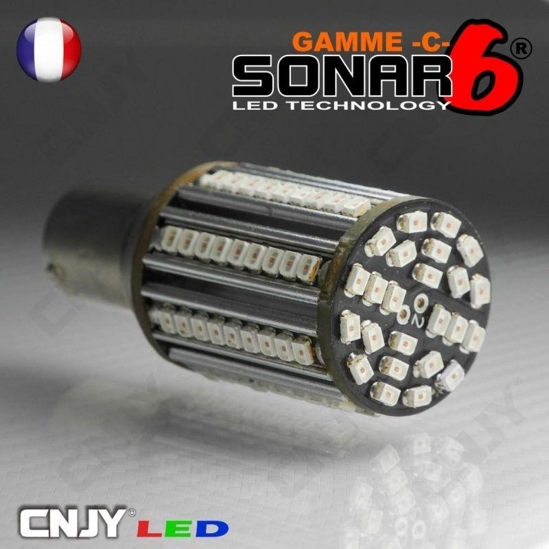 1 AMPOULE SONAR6-C 96 LED SMD HP CANBUS BA15S CULOT COMPATIBLE P21W SPECIAL REPETITEUR ANTI CLIGNOTEMENT RAPIDE