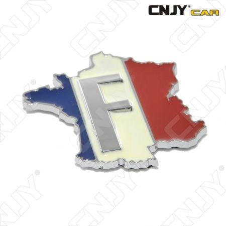 EMBLEME LOGO 3D ADHESIF DRAPEAU CARTOGRAPHIE FRANCE AUTO ADHESIF CHROME PLASTIQUE ABS HAUTE RESISTANCE