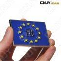 EMBLEME LOGO 3D ADHESIF DRAPEAU EU EUROPEEN FRANCE AUTO ADHESIF CHROME PLASTIQUE ABS HAUTE RESISTANCE