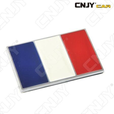 EMBLEME LOGO 3D ADHESIF DRAPEAU FRANCAIS AUTO ADHESIF CHROME BADGE PLASTIQUE ABS HAUTE RESISTANCE