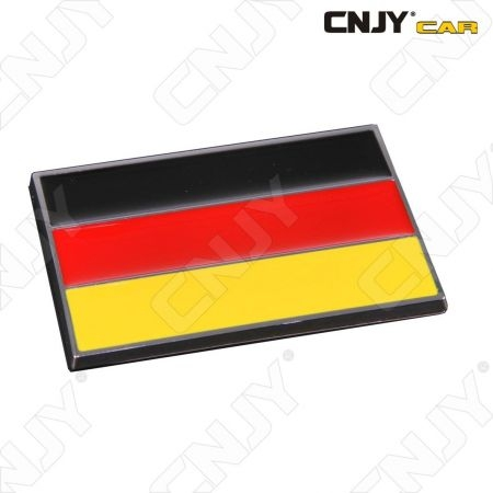 EMBLEME LOGO 3D ADHESIF DRAPEAU ALLEMAND DEUTCH FLAG AUTO ADHESIF CHROME BADGE PLASTIQUE ABS HAUTE RESISTANCE