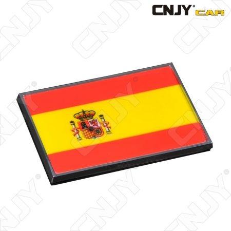 EMBLEME LOGO 3D ADHESIF DRAPEAU ESPAGNOL ESPANA SPAIN FLAG AUTO ADHESIF CHROME BADGE PLASTIQUE ABS HAUTE RESISTANCE
