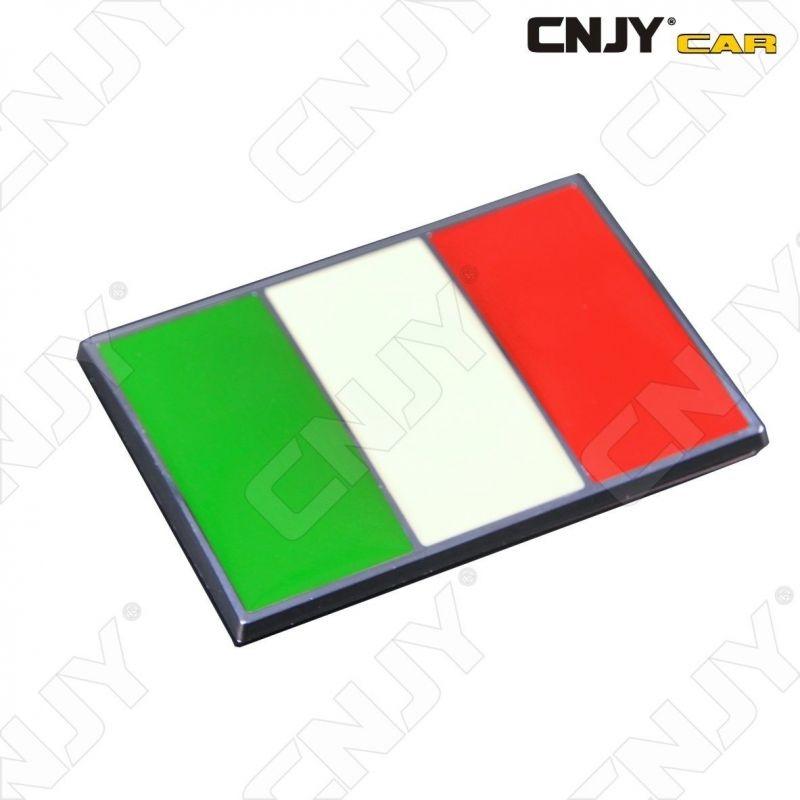 EMBLEME LOGO 3D ADHESIF DRAPEAU ITALIE ITALIEN ITALIA FLAG AUTO ADHESIF CHROME BADGE PLASTIQUE ABS HAUTE RESISTANCE