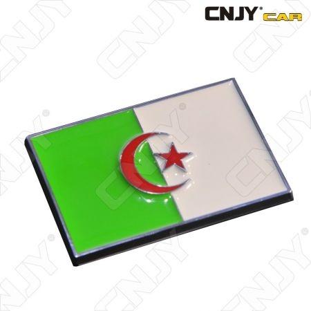 EMBLEME LOGO 3D ADHESIF DRAPEAU ALGERIE ALGERIA ALGERIEN FLAG AUTO ADHESIF CHROME BADGE PLASTIQUE ABS HAUTE RESISTANCE