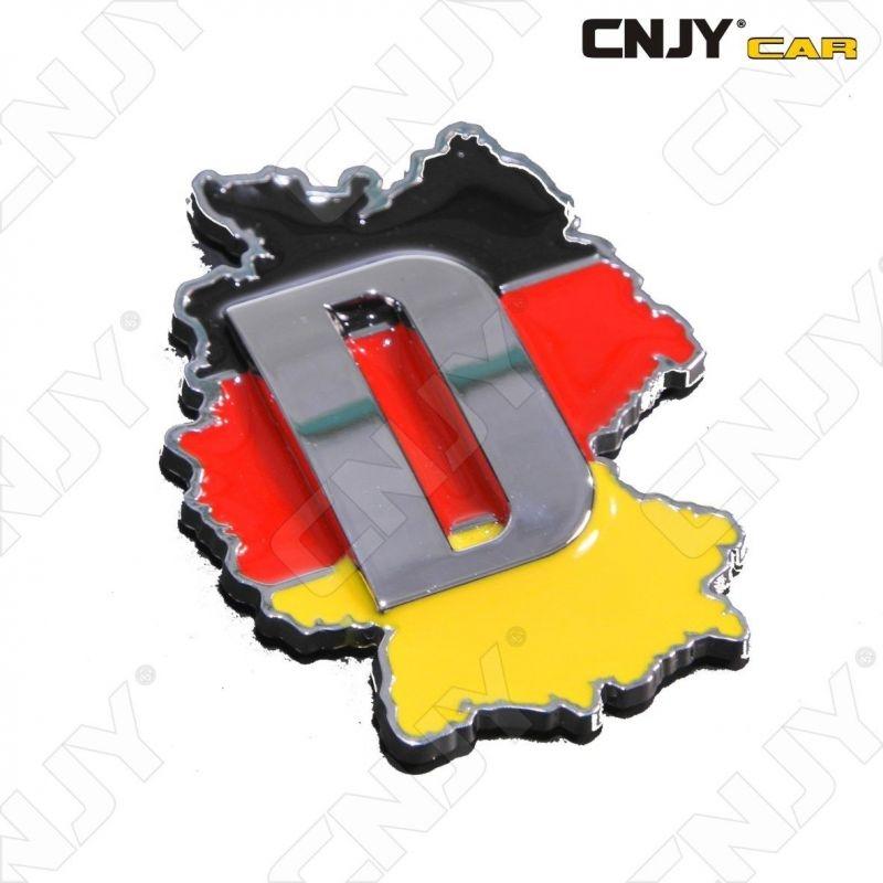 EMBLEME LOGO 3D ADHESIF DRAPEAU ALLEMAGNE CARTOGRAPHIE DEUTCH FLAG AUTO ADHESIF CHROME BADGE PLASTIQUE ABS HAUTE RESISTANCE