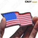 EMBLEME LOGO 3D ADHESIF DRAPEAU FLOTTANT AMERICAIN AMERIQUE USA FLAG AUTO ADHESIF CHROME BADGE PLASTIQUE ABS HAUTE RESISTANCE