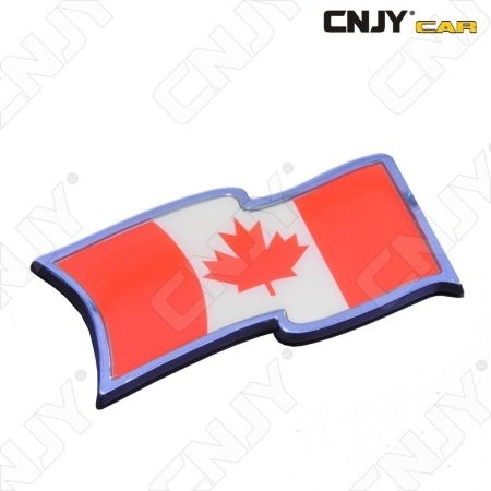 EMBLEME LOGO 3D ADHESIF DRAPEAU FLOTTANT CANADIEN CANADA QUEBEC FLAG AUTO ADHESIF CHROME BADGE PLASTIQUE ABS HAUTE RESISTANCE