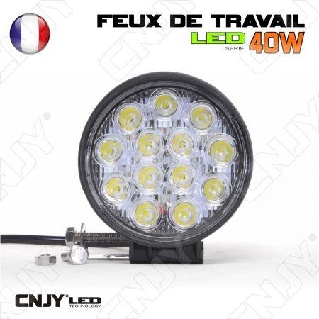 FEUX DE TRAVAIL CNJY LED 40W ROND WORKING LIGHT IP67 CAMION BATEAU 4x4 12 24V