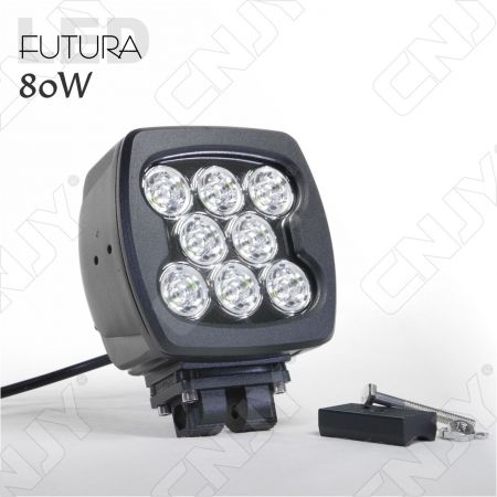 PHARE DE TRAVAIL FUTURA LED 80W BLACK WORKING LIGHT IP67 CAMION BATEAU 4x4 12V 24V