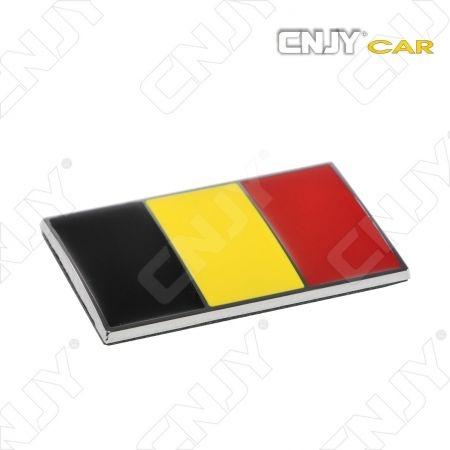EMBLEME LOGO 3D ADHESIF DRAPEAU BELGIQUE BELGIE BELGIUM FLAG AUTO ADHESIF CHROME BADGE PLASTIQUE ABS HAUTE RESISTANCE