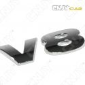 EMBLEME LOGO 3D ADHESIF V8 DESIGN SPORT TRUCK AUTO ADHESIF CHROME BADGE PLASTIQUE ABS HAUTE RESISTANCE