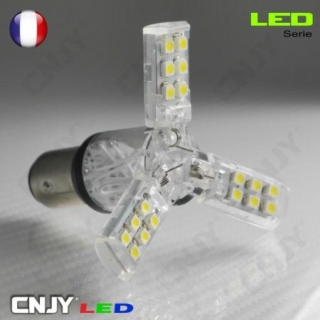 1 AMPOULE TRIANO 27 LED SMD BAY15D CULOT COMPATIBLE P21/5W 1157 DOUBLE FILAMENT/CONTACT