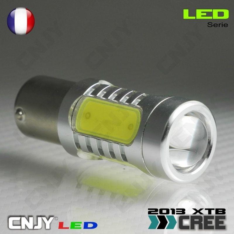 1 AMPOULE CREE LED 9W AVEC LENTICULAIRE BAY15D CULOT COMPATIBLE P21/5W 1157 DOUBLE FILAMENT/CONTACT