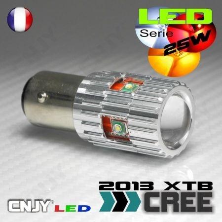 1 AMPOULE CREE LED 25W LENS BAY15D CULOT COMPATIBLE ANTI ERREUR FEUX JOUR CITROEN C4 II & PEUGEOT 308 P21/5W 1157