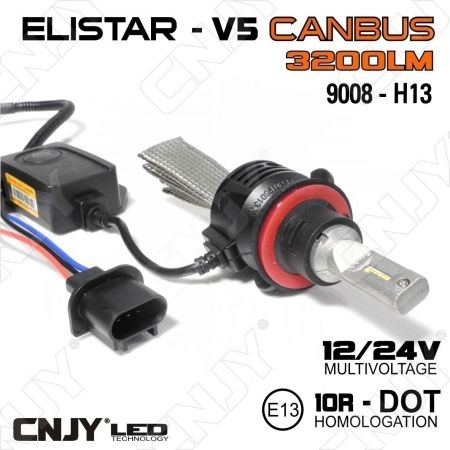 KIT DE CONVERSION LED H4-P43T ELISTAR V5 - AMPOULE NON VENTILEE 24W ULTIMATE CANBUS ODB AUTO MOTO CAMION 12V-24V
