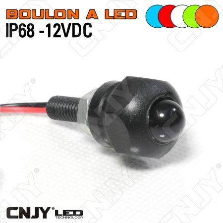 BOULON A LED LUMINEUX 12VDC ECLAIRAGE DE PLAQUE ETANCHE IP68